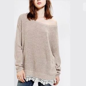 Anthropologie Pins and Needles Lace Trim Sweater S
